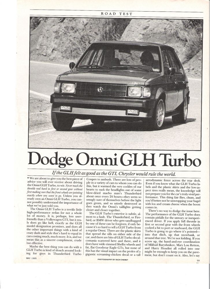 1985 Car and Driver Omni GLH article page 1