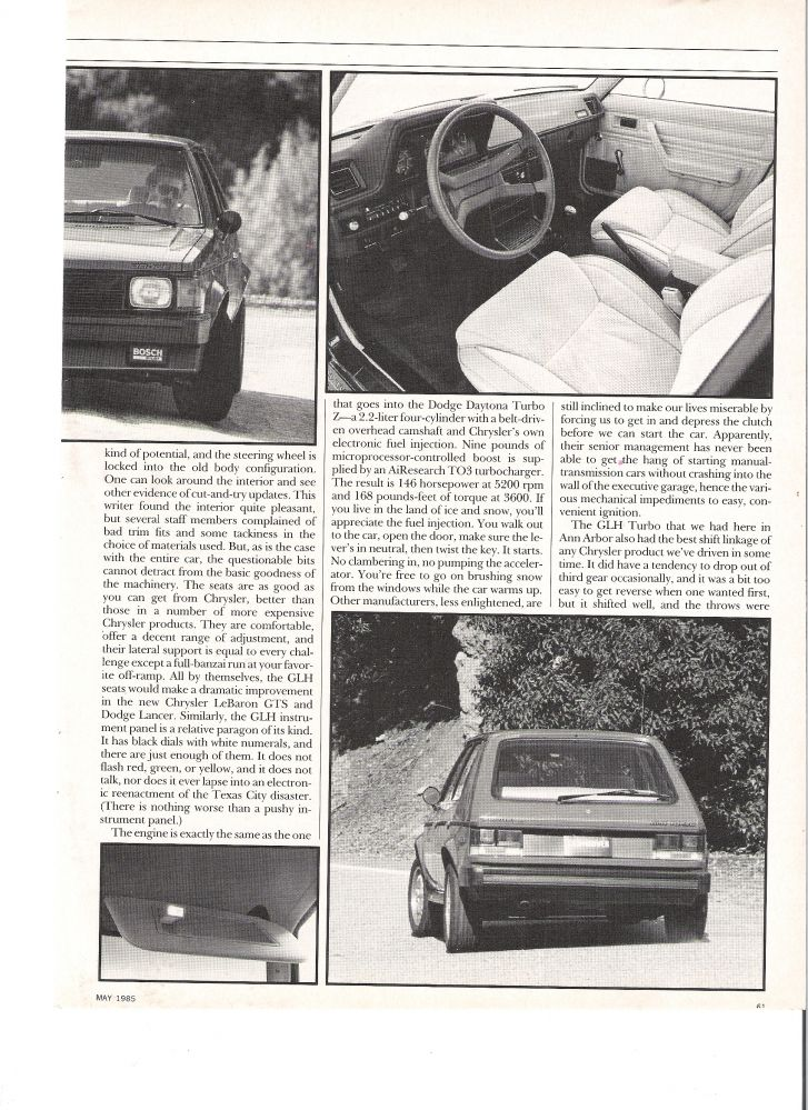 1985 Car and Driver Omni GLH article page 3