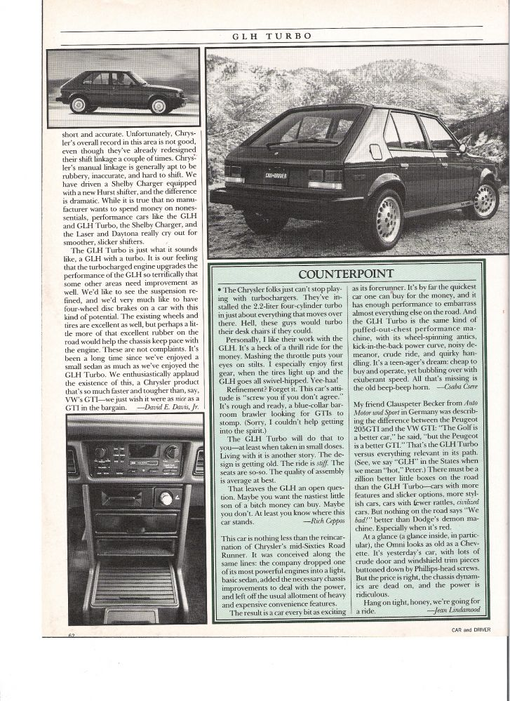 1985 Car and Driver Omni GLH article page 4